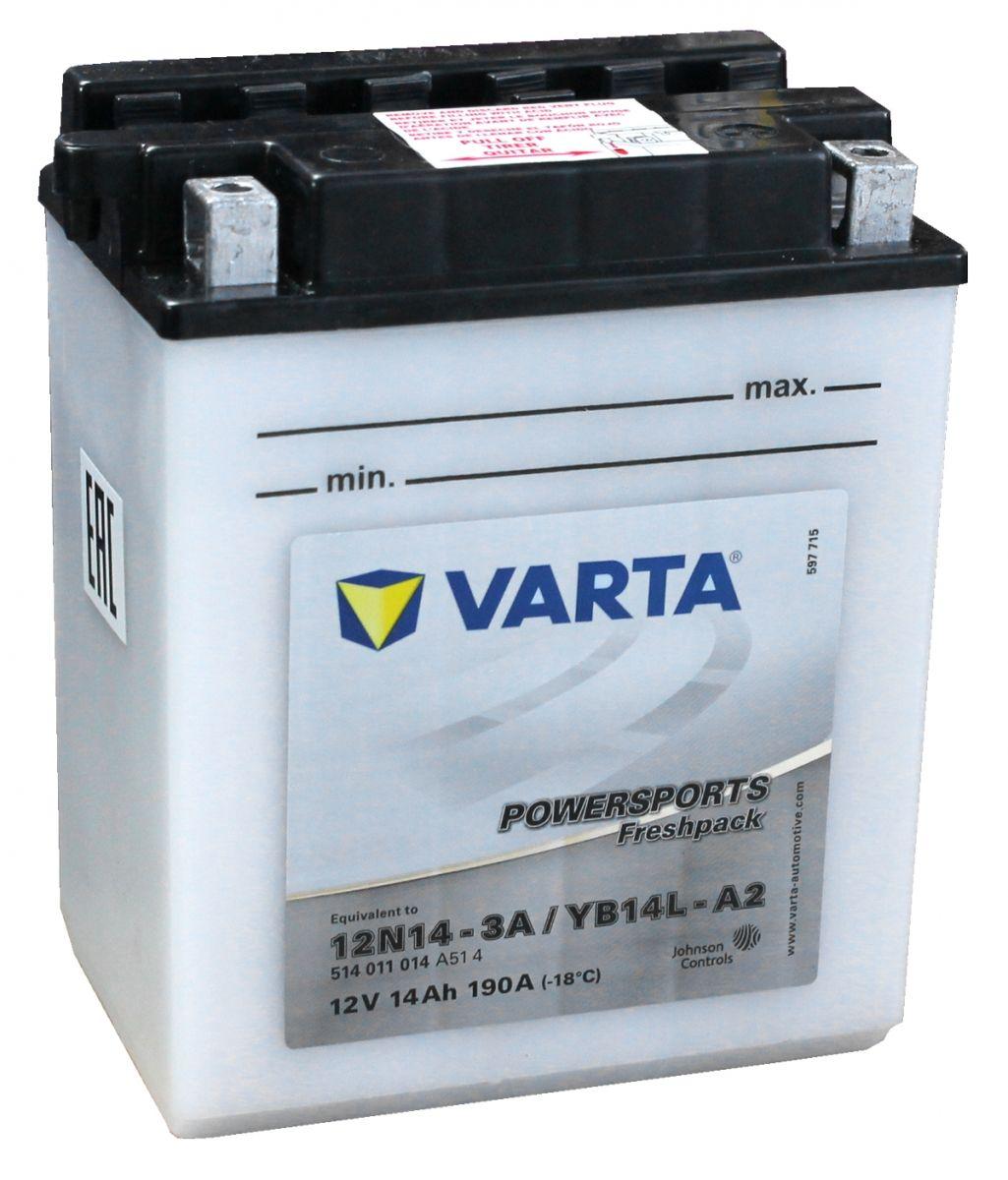 Yb14l A2 Varta Powersports Freshpack Motorcycle Battery 514 011 014 12n14 3a