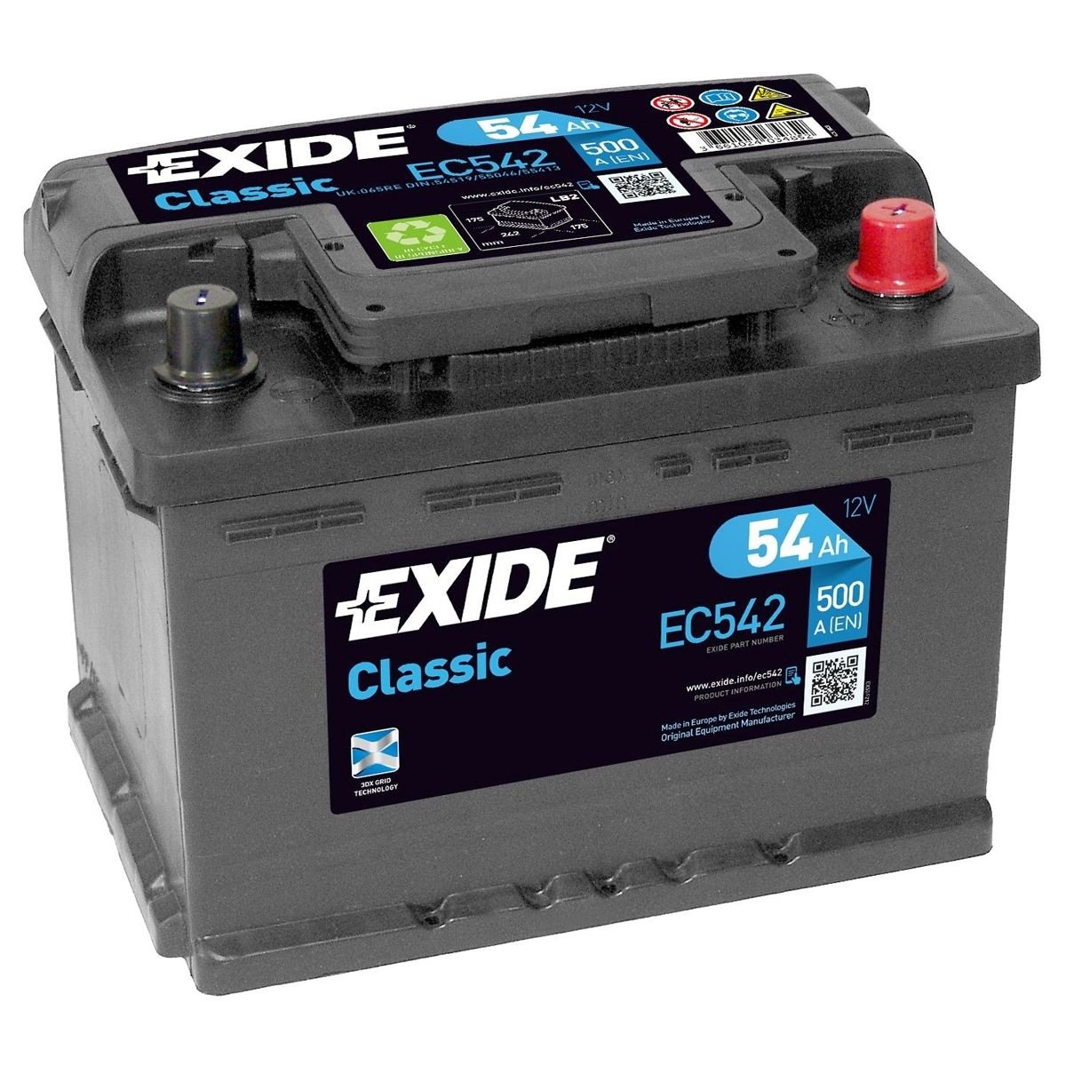 Exide Car Battery >> 065re Exide Classic Car Battery Ec542