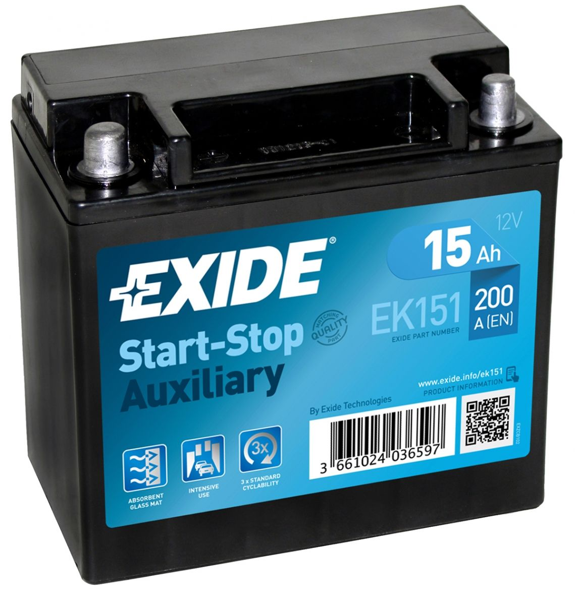 Exide Car Battery >> Exide Ek151 Agm Car Battery