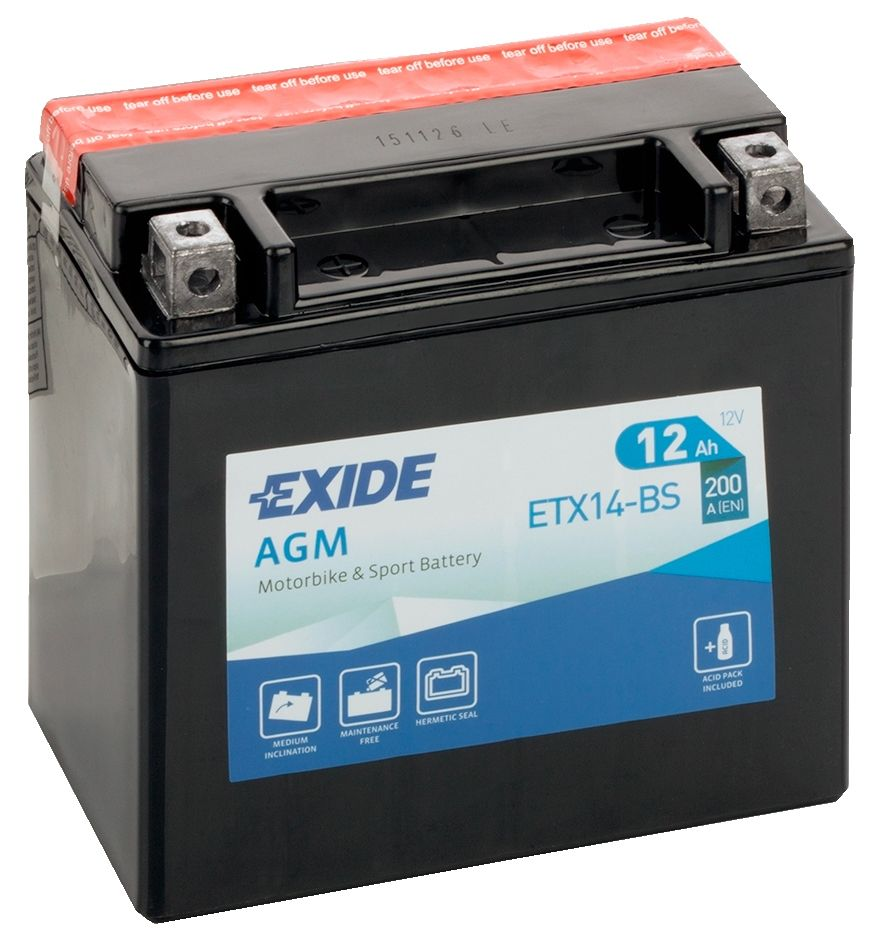af4208d4 Exide ETX14-BS 12V Motorcycle Battery YTX14-BS
