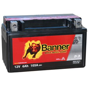 YTX7A-BS Compatible Banner Bike Bull AGM Battery (50615)