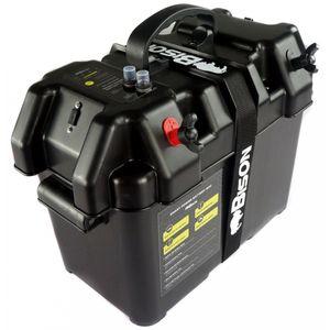 Bison Battery Box with USB Charger, LED Meter, Breaker & 12V Socket