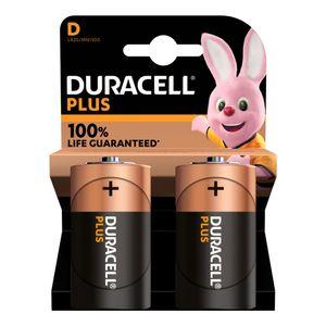 2x Duracell Plus D Batteries MN1300B2