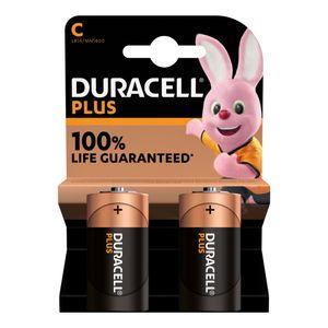2x Duracell Plus C Batteries MN1400B2