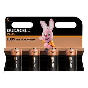 4x Duracell Plus C Batteries MN1400B4