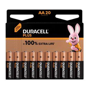 20x Duracell Plus AA Batteries MN1500B20