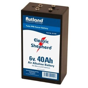 Rutland 6V 40Ah Air Alkaline Twin PP8 Electric Fence Battery