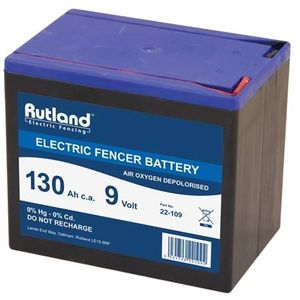 Rutland 9V 130Ah Air Oxygen Electric Fence Battery