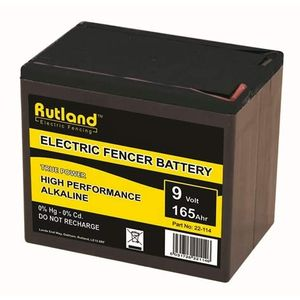 Rutland 9V 165Ah Alkaline Electric Fence Battery