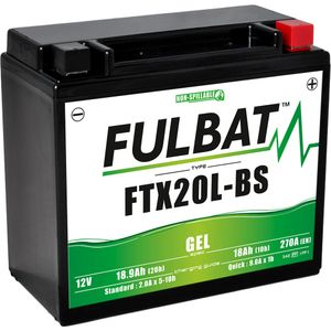 FTX20L-BS GEL Fulbat Motorcycle Battery YTX20L-BS