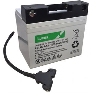 Lucas Golf Battery LSLC34-12G with T-Bar Connector and T-Bar Lead