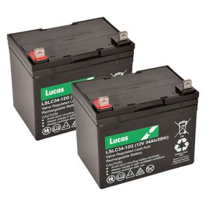 Pair of 12V 34Ah Mobility Batteries - Lucas LSLC34-12