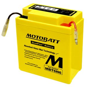 MBT6N6 MOTOBATT Quadflex AGM Bike Battery 6V 6Ah