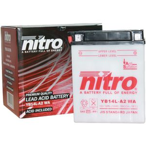 YB14L-A2 Nitro Motorcycle Battery YB14L-A2 WA