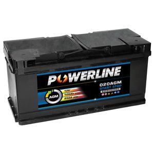 020 AGM Powerline Start Stop Car Battery 105Ah