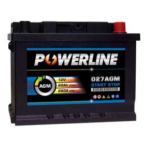 027 AGM Powerline Start Stop Car Battery 12V 60Ah