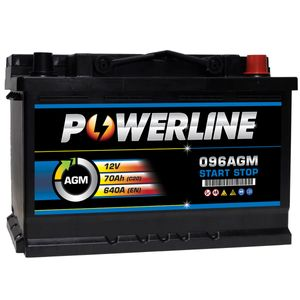 096 AGM Powerline Stop Start Car Battery 12V 70Ah