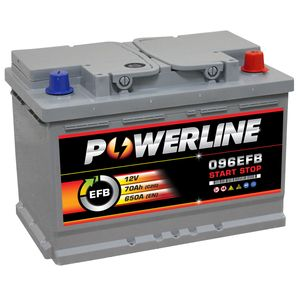 096 EFB Powerline Start Stop Car Battery 70Ah