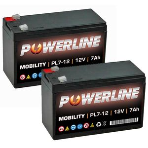 Pair of 12V 7Ah Mobility Batteries - Powerline PL7-12