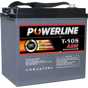 T105 AGM Powerline Battery Deep Cycle 224Ah