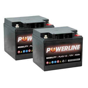 Pair of 12V 40Ah Mobility Batteries - Powerline PL45-12