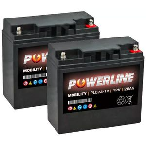 Pair of 12V 20Ah Mobility Batteries - Powerline PLC22-12