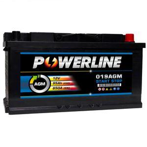 019 AGM Powerline Start Stop Car Battery 12V 95Ah