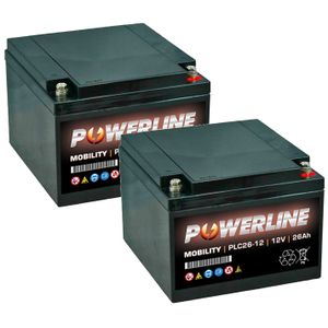 Pair of 12V 26Ah Mobility Batteries - Powerline PLC26-12