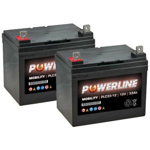Pair of 12V 33Ah Mobility Batteries - Powerline PLC33-12