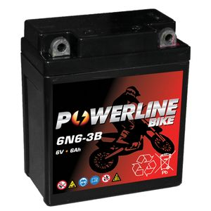 6N6-3B AGM Powerline Batterie De Moto 6V 6Ah 6N63B