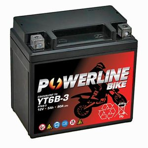 YT6B-3 Powerline Motorcycle Battery 12V 5Ah