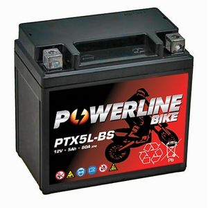 PTX5L-BS Powerline Motorcycle Battery 12V 5Ah