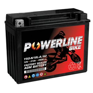 Y50-N18L-A/A2 AGM Powerline Motorcycle Battery 12V 21Ah