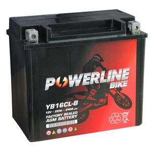YB16CL-B AGM Powerline Batterie De Moto 12V 22Ah YB16CLB AGM