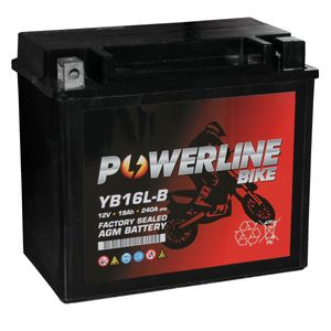 YB16L-B AGM Powerline Batterie De Moto 12V 19Ah