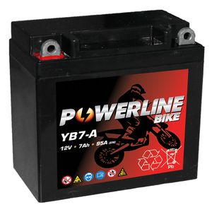 YB7-A AGM Powerline Motorcycle Battery 12V 7Ah YB7A
