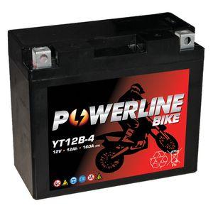 YT12B-4 Powerline Batterie De Moto 12V 12Ah YT12B4