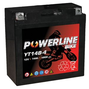 YT14B-4 Powerline AGM Motorcycle Battery 12V 14Ah YT14B4
