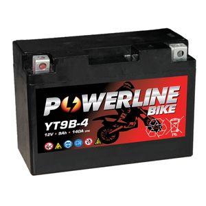 YT9B-4 Powerline Motorcycle Battery 12V 9Ah YT9B4