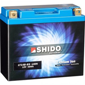 YT14B-BS Shido Lithium Motorcycle Battery LiFePO4 LT14B-BS