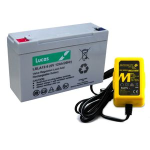 Toy Car Battery and Charger Combo 6V 12AH