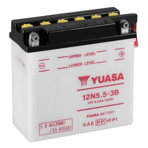 12N5.5-3B Yuasa Motorcycle Battery 12V 5.5Ah 55A