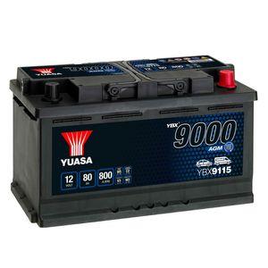 YBX9115 Yuasa AGM Start Stop Car Battery 12V 80Ah