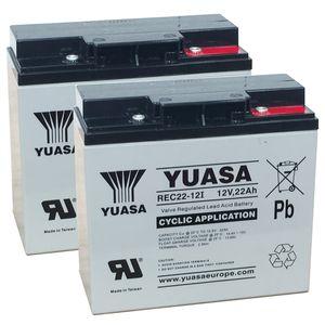 Pair of Yuasa REC22-12 Cyclic VRLA Battery 12V 22Ah