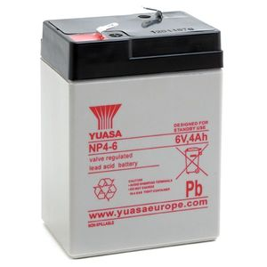 Yuasa NP4-6 Valve Regulated Lead Acid (VRLA) Battery 6V 4Ah