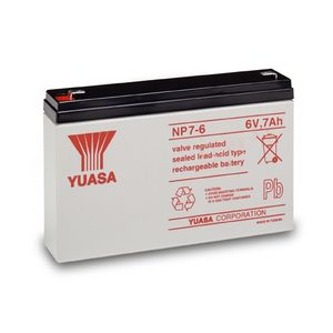 Yuasa NP7-6 Valve Regulated Lead Acid (VRLA) Battery 6V 7Ah