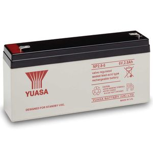 Yuasa NP2.8-6 Valve Regulated Lead Acid (VRLA) Battery 6V 2.8Ah