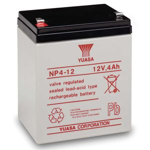 Yuasa NP4-12 Valve Regulated Lead Acid (VRLA) Battery 12V 4Ah