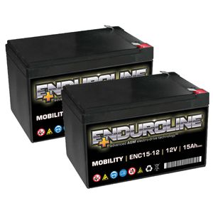 Pair of 12V 15Ah Mobility Batteries - Enduroline ENC15-12