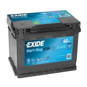 Exide 027 AGM Car Battery 60Ah EK600